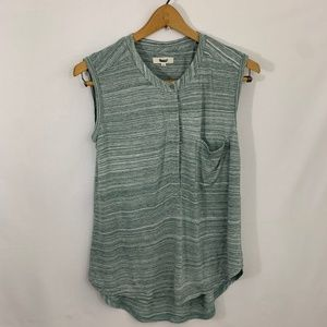 Madewell Green and White Top